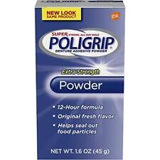 3 Pack Super Poligrip Extra Strength 12h Denture Adhesive Powder, 1.6 Oz Each