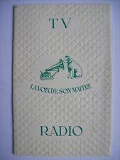 catalogue publicitaire radio télévision ancienne La voix de son maître vers 1960