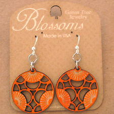 TRI Green Tree Jewelry TANGERINE laser-cut wood earrings USA 114 BLOSSOMS circle