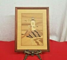 """HUDSON RIVER INLAY  Wood Marquetry Picture """"LIGHTHOUSE ROCK"""" Nautical Decor."""