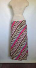EAST 5th Linen Blend Diagonal Striped A-Line Womens Maxi Skirt Size 6