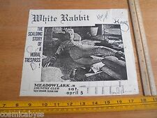 White Rabbit The Hags Huntington Beach CA1980s ORIGINAL Punk Rock concert poster