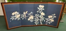 """Vintage Asian Silk Screen 4 Panel Hand Painted 72.5"""" x 36"""""""
