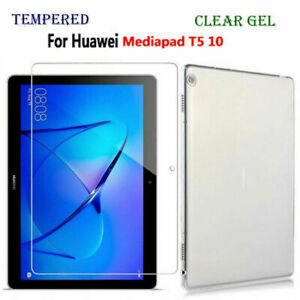 Slim Clear Gel Case Silicone Cover Tempered glass for Huawei Media Tablet T5-10