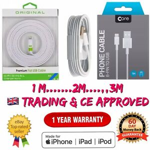iPhone USB Charger 6 7 8 X 11 MAX 1M 2M 3M Long Cable Data Lighting UK