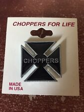 NEW! CHOPPERS FOR LIFE FOREVER BIKE MOTORCYCLE CROSS BLACK SILVER LARGE PIN
