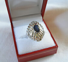 3.30 Ct.  Sapphire Solitaire and Diamond  14K White Gold Cocktail Ring