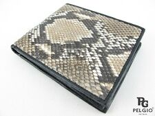 PELGIO Real Genuine Python Skin Leather Credit Card ID Bifold Men Wallet Natural