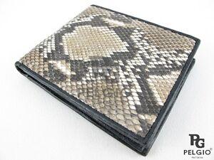 PELGIO Genuine Python Snake Skin Leather Soft Men Bifold ID Card Wallet Natural