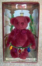 "1999 Gund Yulbeary 9"" Plush Burgundy Red Christmas Bear W/ Lights Mint In Box"