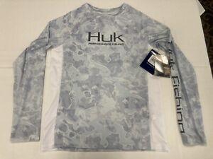 New Huk Youth large Vented Pursuit Grey Camo KC Scott Long Sleeve Fishing Shirt