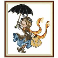 Girl with Umbrella DIY Handmade Needlework Counted 14CT Embroidery Kit Set