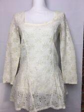 Free People Ivory Top Shirt Blouse Flower Daisy Crochet Cut Out Boho Romantic M