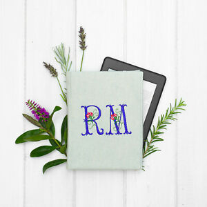 NEW Personalised Embroidered Initials Cover Book Kobo Nia Aura Clara HD H2O Glo