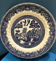 Vintage Fine Myott Made in England Meakin Tableware Dinner Plate Blue /White 10""