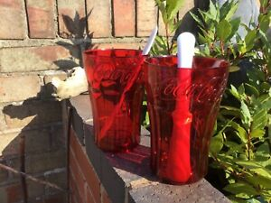 2 LARGE FUNKY  COCA COLA RED  ZOKU PLASTIC BEAKERS WITH SPOONS ..COLLECTABLE