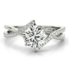 Forever One Round Moissanite Swirl Intertwined Split Band Engagement Ring