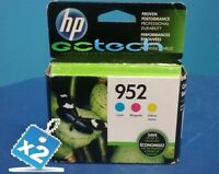 Lot Of 2 Genuine HP 952 C/M/Y Color Ink Cartridges (N9K27AN#140), Combo 3/Pack