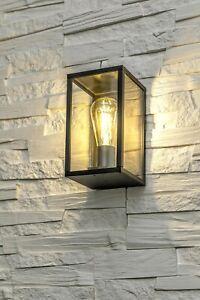 CGC Black Aluminium Contemporary Wall Light Lantern Outdoor Garden Porch Patio