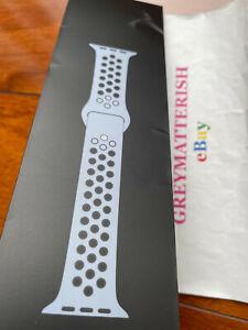 SEALED 100% Genuine NIKE 44mm OBSIDIAN MIST/BLACK Apple Watch sport band 42/44mm