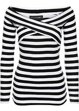 Carmen T-Shirt Pullover Wickeloptik Gr.44/46 schwarz/weiß gestreift 956443 NEU