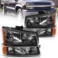FOR 2003-2006 CHEVY SILVERADO BLACK HOUSING AMBER SIDE HEADLIGHTS/LAMP ASSEMBLY