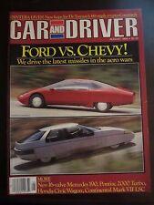 Car & Driver Magazine August 1984 Ford vs. Chevy Pantera Mercedes 190 (U) SS W