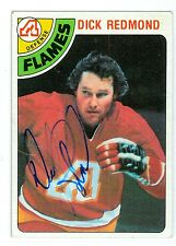 Dick Redmond Signed 1978-79 Topps Hockey Card #23 Flames Dated In Person Auto