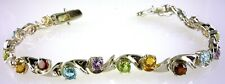 Genuine Multi-color Bracelet with 20 - 4.0 MM Round Stones 925 Sterling Silver