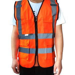 Hi-Visibility Reflective Safety Vest with 9 Pockets Zipper Orange 100%polyester
