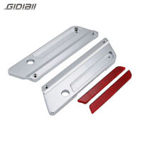 Chrome Saddlebag Latch Covers +RED Reflectors For Harley Touring 93-13 Hard Bags