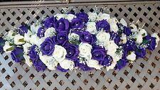 PURPLE & IVORY LONG WEDDING TOP TABLE DECORATION DISPLAY DIAMANTE'S & PEARLS