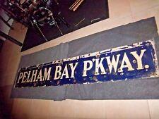 ANTIQUE NYC SUBWAY SIGN CIRCA 1917 BLUE PORCELAIN PELHAM BAY PARKWAY IRT NELKE