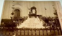 Rare Antique Victorian American Religious Floral Display! Indiana Cabinet Photo!