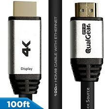 QualGear® 100 Ft High-Speed HDMI 2.0 Cable QG-CBL-HD20-100FT with Ethernet,Black