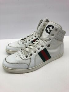 $585 Gucci GG White High Top Vintage Sneakers Guccisima Mens 10.5 G / 11.5 us