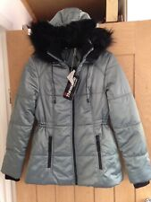 Marks And Spencer Thinsulate Hooded Sheen Fleece Joacket Coat Size 8 BNWT