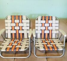 New listing Set Of 2 Vintage Adult Low Aluminum Chairs Folding Outdoor Yard Beach Chairs