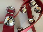 """Belsnickel SILVER JINGLE SLEIGH BELLS - RED LEATHER STRAP - 16 BELLS 1.5"""" x 5 ft"""