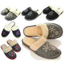 Damen Filz Winter HausSchuhe Pantoffeln mit Schafwolle gefüttert Größe 36-41 NEU