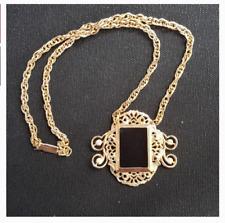 Vintage Gold Black Frame Victorian Necklace Jewelry