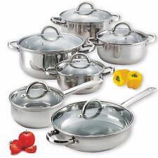 STAINLESS STEEL POT AND PAN COOKWARE SET 12-Piece Suitable On All Stove Types
