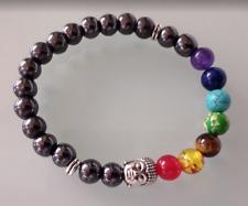 UK Silver Buddha  Hematite Chakra 7 Crystal Gemstone Bead Bracelet