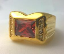G-Filled Mens 18k yellow gold simulated diamond garnet ring Gents red oblong new