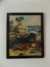 Original Vintage Signed Girl Seeping & Dog Oil Painting on Board Dated & Signed