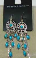 VTG Dorothy Perkins Silver t Turquoise Stone Color Dangle Pierced Earring 1f 89