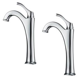 KRAUS Bathroom Faucet 1-Handle Vessel Pop-Up Drain High Arc Chrome (2-Pack)