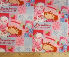 Strawberry Shortcake with Snowman Christmas allover Quilting Cotton Fabric BTY