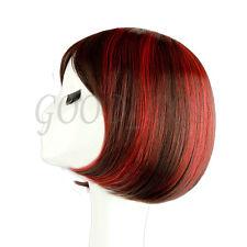 "Women's Straight Cosplay Costume Party Short BOBO Wig Full Hair 12"" Black & Red"