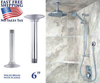 """BATHROOM CEILING MOUNT SHOWER ARM 6"""" WITH FLANGE CHROME SOLID BRASS 1/2"""" PIPE"""